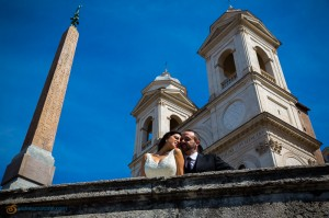 Kissing at Church Trinita' dei Monti in Rome