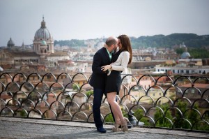 The joy and happiness of a couple during their engagement session in Rome