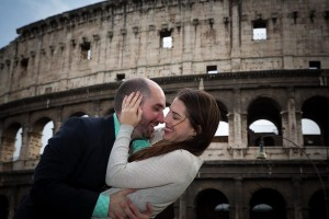 Romantically in love in front of the Coliseum