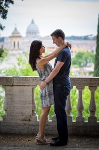 Couple together in Rome at Pincio Park