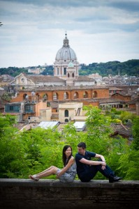 Engaged after a surprise proposal in Rome