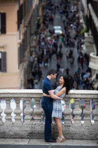 Couple together in Piazza di Spagna in Rome