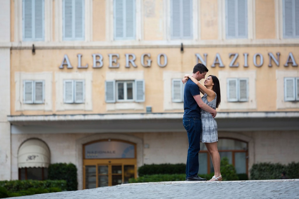 Roman city view during an engagement session