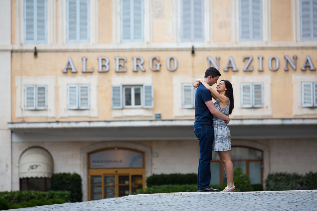 Roman city view during an engagement session. Rome Marriage Proposal Photographer.