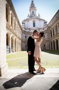 Wedding picture taken at San Ivo alla Sapienza in Rome Italy
