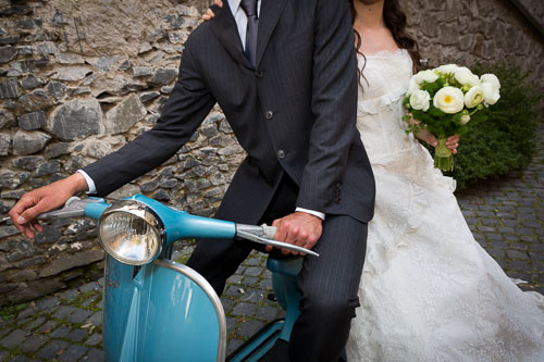 Wedding vespa ride