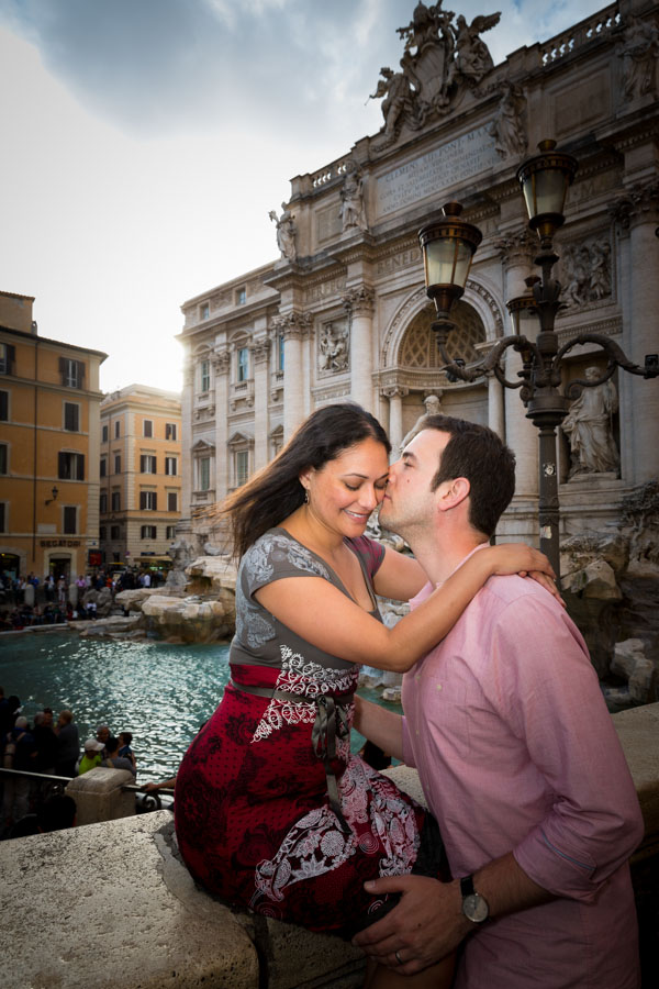 Romantically in love at the Trevi fountain.