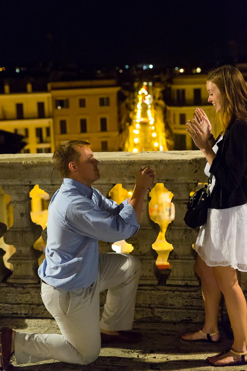 Knee down wedding proposal at Spanish steps