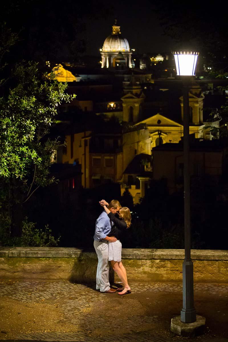 Marriage Proposal Rome Italy. Parco del Pincio.