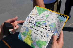 The wedding proposal message written on a map