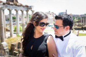 Couple together for a special event at the ancient forum