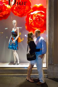 Photo taken in front of the Dior store in the roman fashion district in Italy.