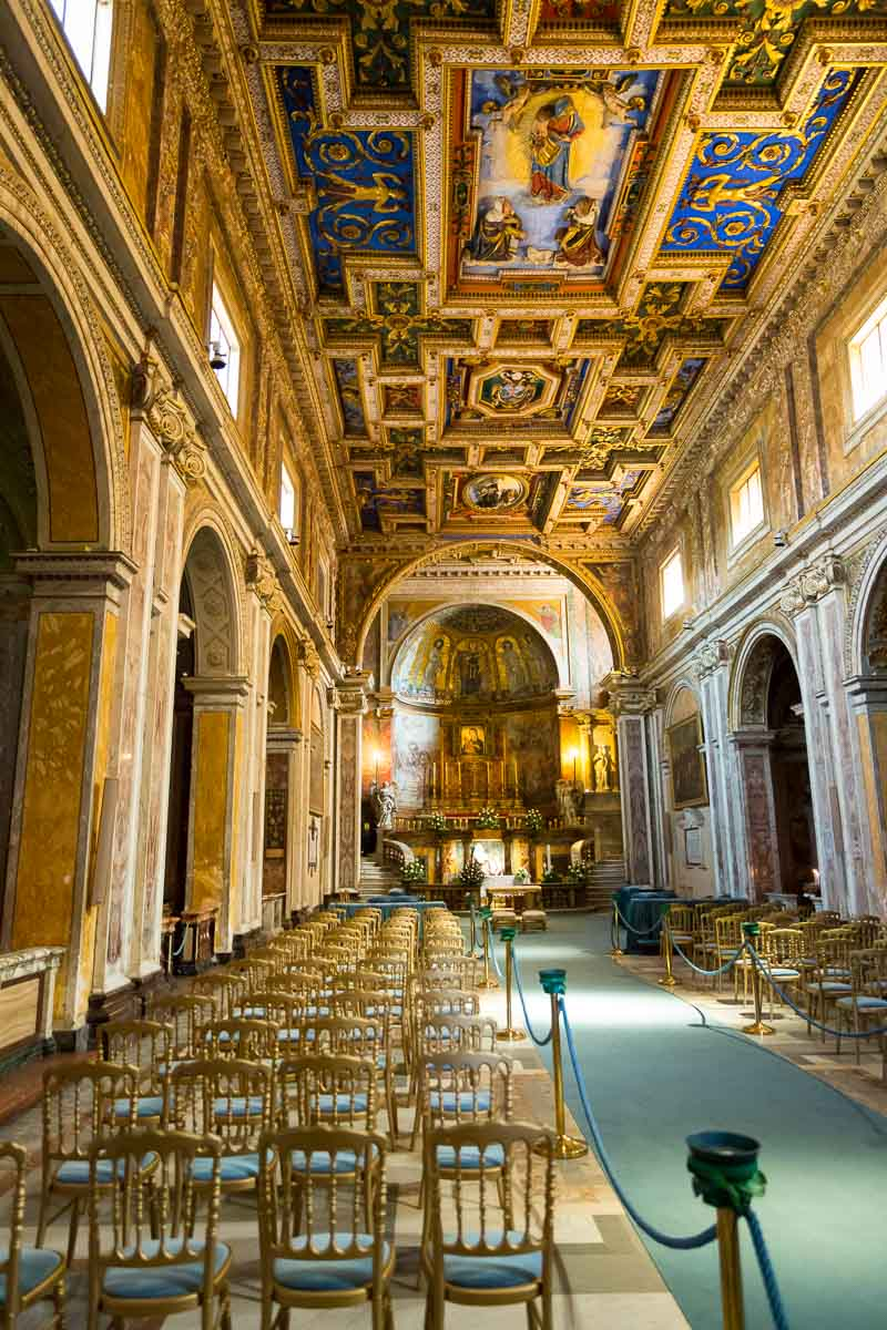 Interior view of Church San Francesca Romana in Rome Italy.