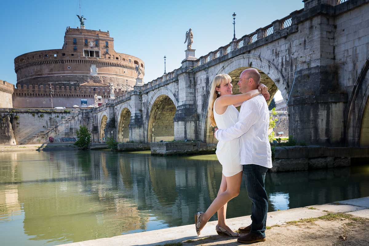 E-session underneath Ponte Castel Sant'Angelo. Tiber river bank.