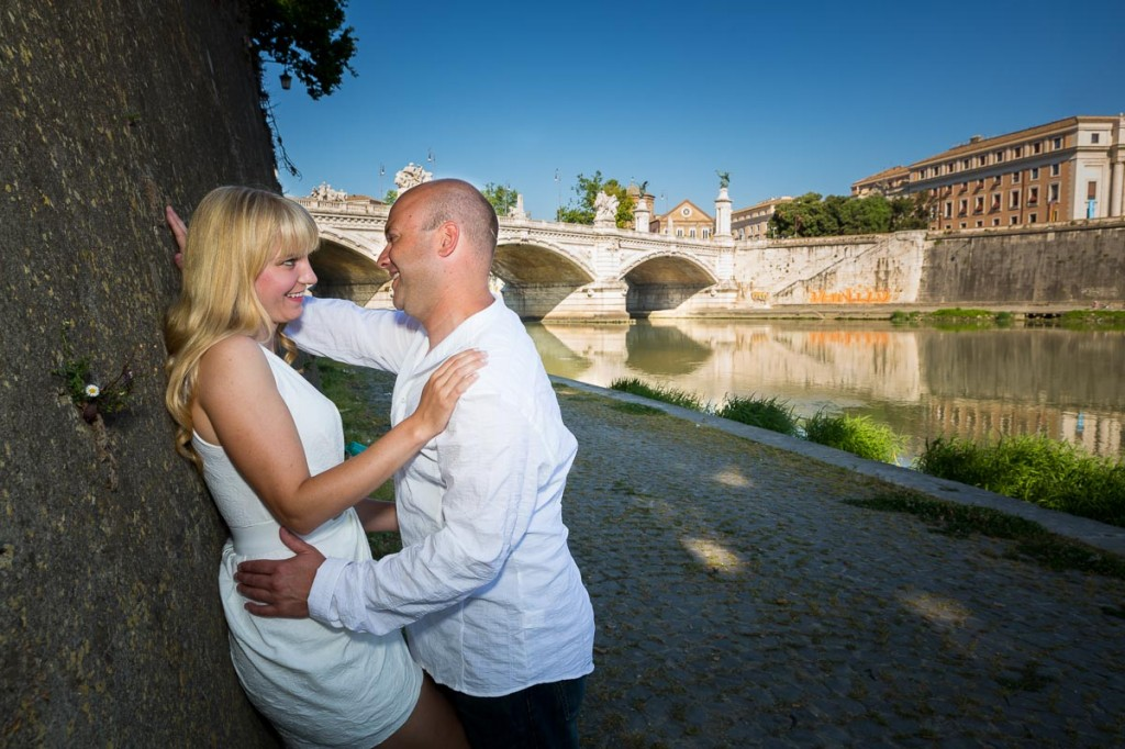 Getting engaged in Rome Italy. Image by the river.