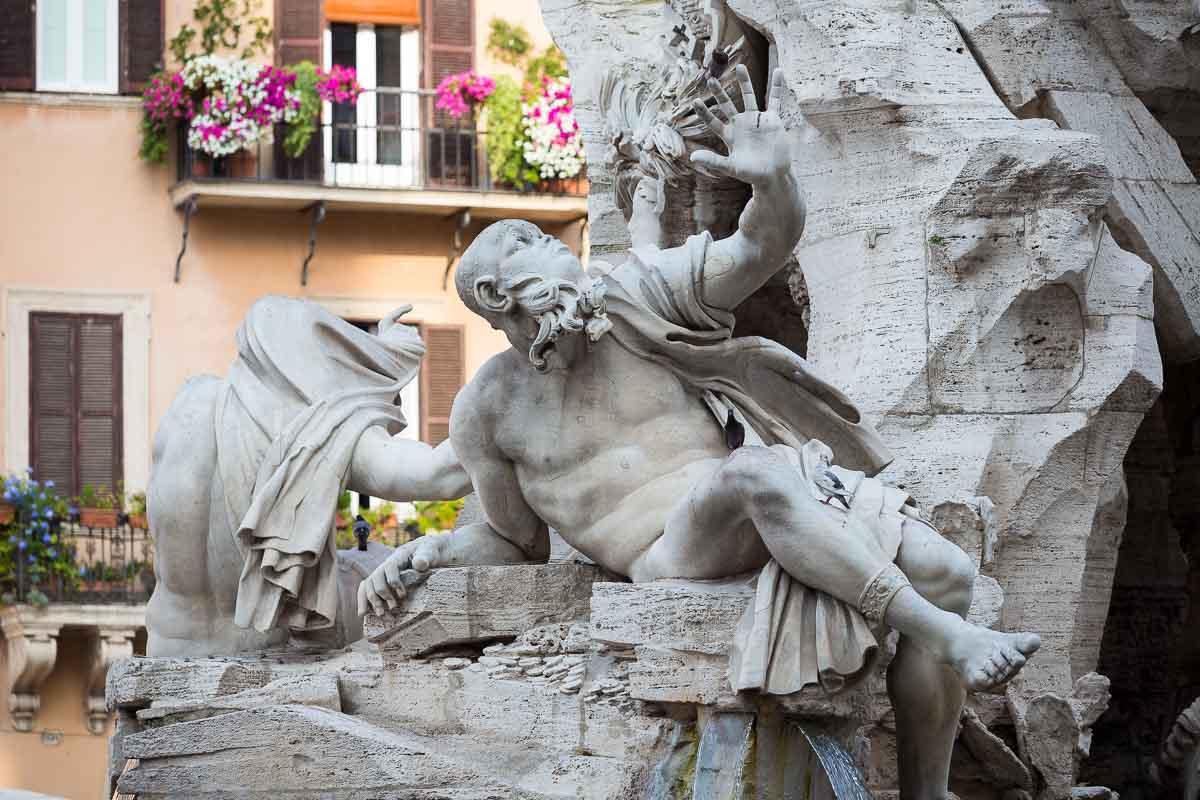 Statue of Rio della Plata contained in the Fontana dei Quattro Fiumi in Rome Italy