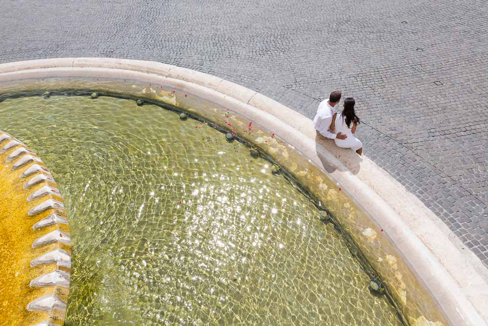 Wedding anniversary in Rome. Picture taken from above the water pool.