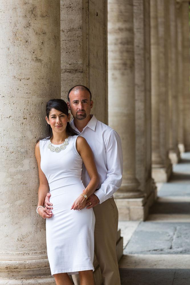 Posing underneath columns in Piazza del Campidoglio