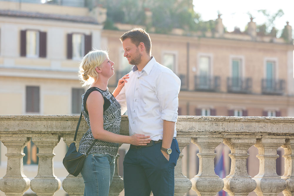 The Spanish steps at sunset during an e-session.