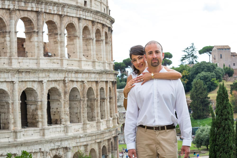 Photo shoot at the Roman Colosseum during and an anniversary engagement session.