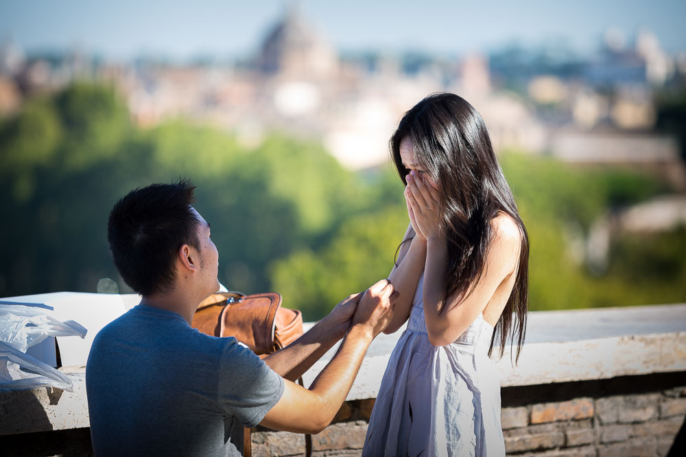 Marriage proposal in Rome at Giardino degli Aranci.