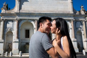 Love and romance during an engagement photo session