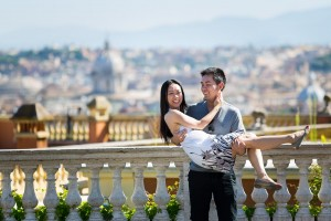 Couple together in Rome Italy at Gianicolo