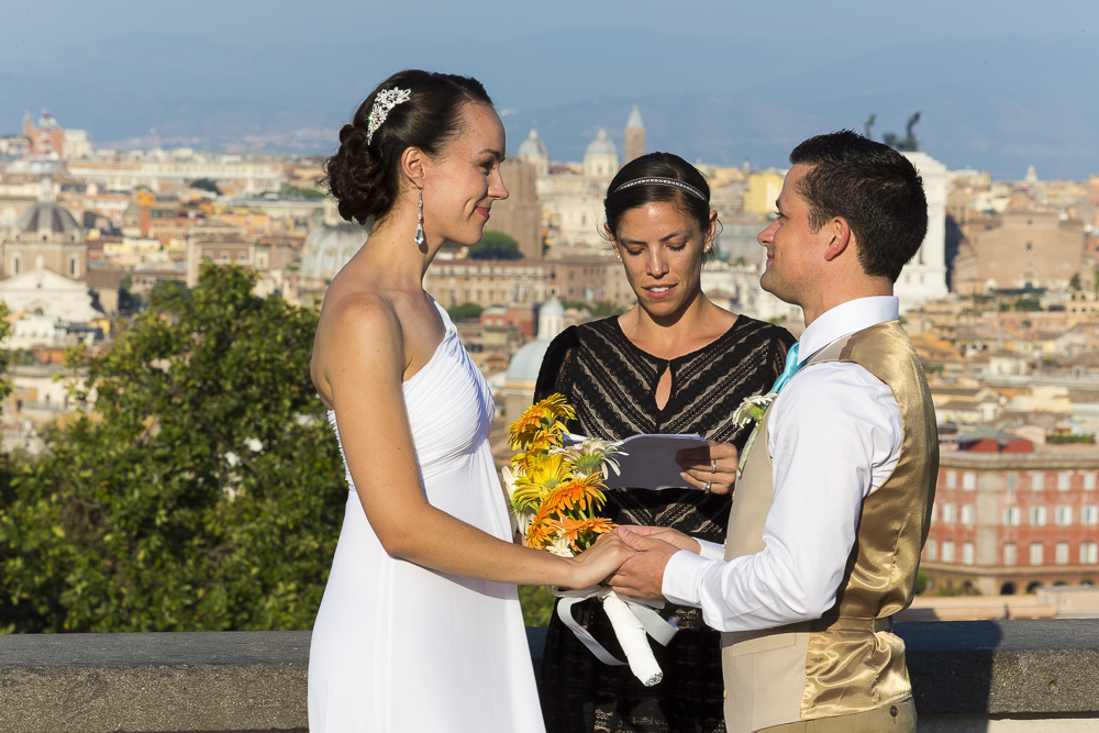 Getting married in Italy overlooking the roman rooftops. Non traditional wedding photography.