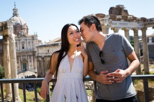 Portrait picture of engaged couple at the Roman Forum in Rome.