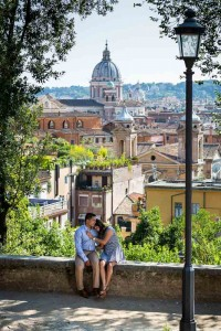 The beautiful roman view used as background to an engagement photo session in Rome