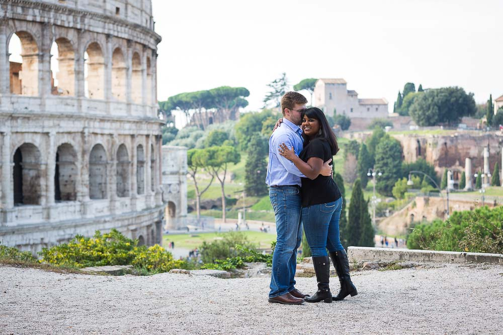 Image of the Coliseum in the background of a photography session.