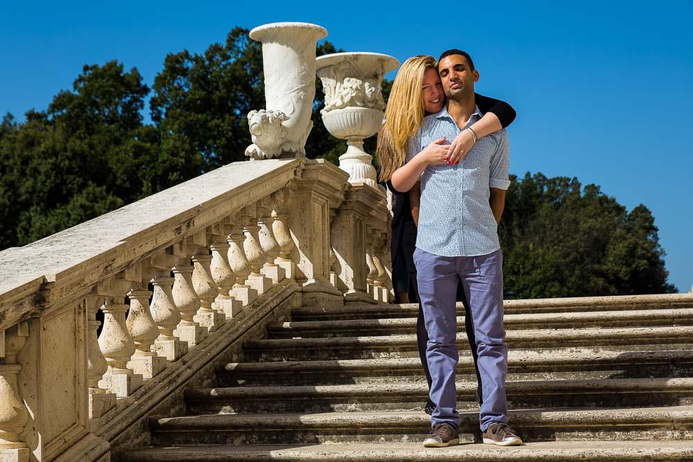 Standing on top of a scenic staircase by the Villa Borghese museum.