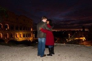 Colosseum engagement session at night.