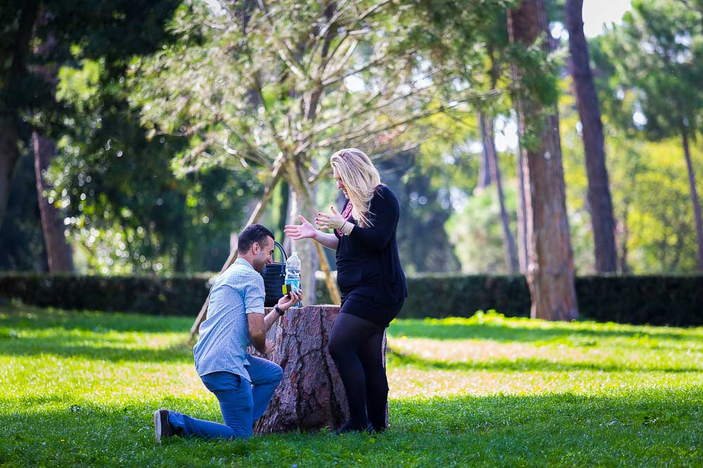 The moment of the surprise proposal photographed in a park.