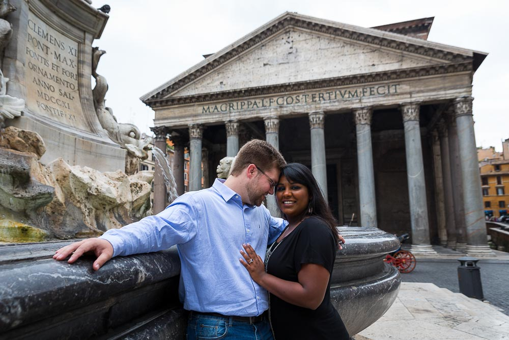 The view of the Pantheon from the water fountain. Rome Engagement Shoot.