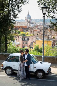 Car innocenti photo shoot with the city in the background.