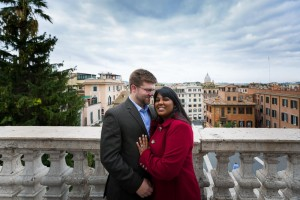 Portrait picture of a couple on top of the Spanish steps