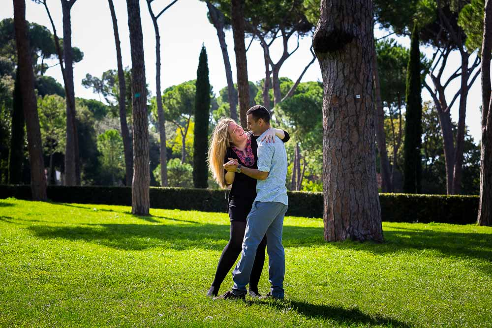 Dancing in the park in the Borghese Villa.