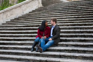 Laying down on the Spanish steps