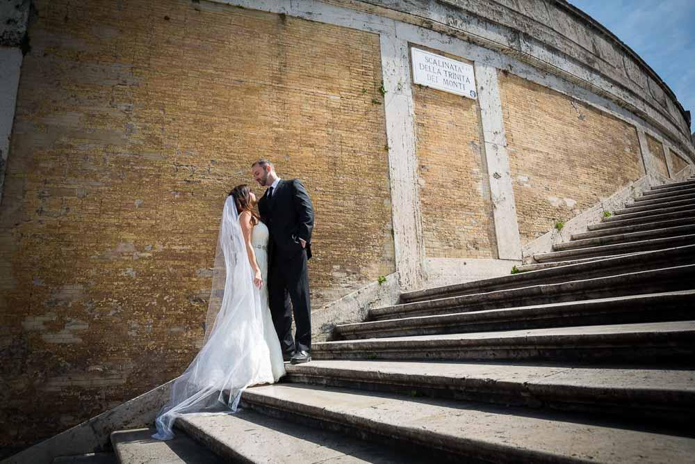 Matrimonial photo shoot on the Spanish steps. Rome, Italy.