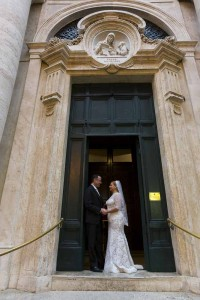 Church Santa Anna Blessing in the Vatican. Bride and Groom standing at the entrance.