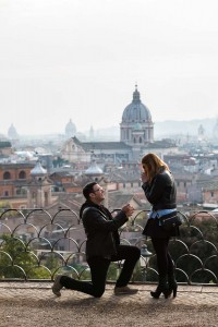 Engagement marriage proposal at Parco del Pincio in Rome Italy