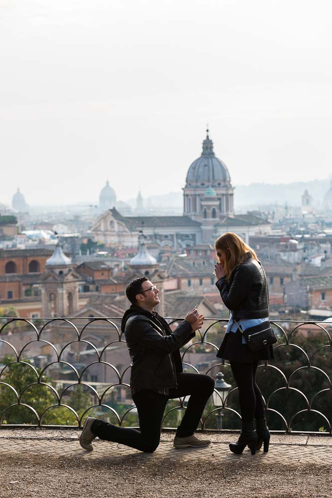 Engagement marriage proposal at Parco del Pincio in Rome Italy.