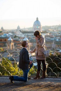 Wedding marriage proposal in Rome Italy. Photographed at a distance. Proposing in Rome Italy.