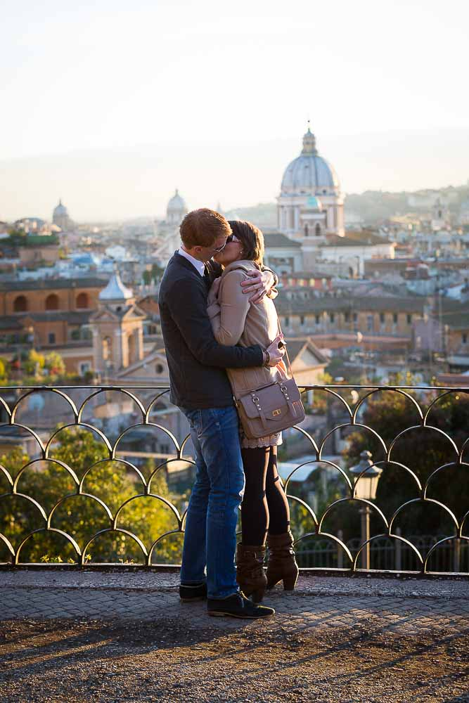 Together in Rome after a wedding proposal.