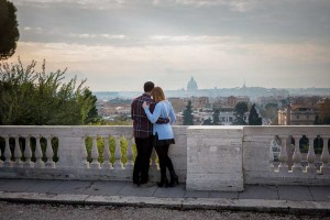 Couple in love overlooking the panoramic view over the city