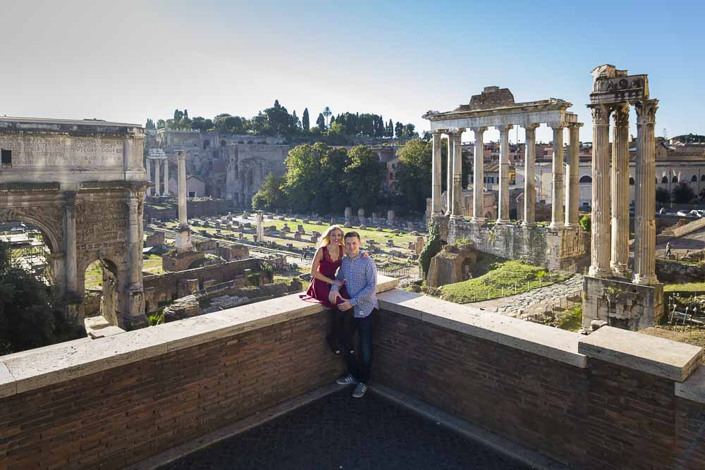 Couple posing during a portrait photo session at the roman forum.