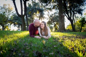 Engagement photo shoot at the Villa Borghese park in Rome, Italy.