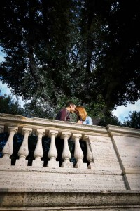 Engagement pictures taken below the terrace view