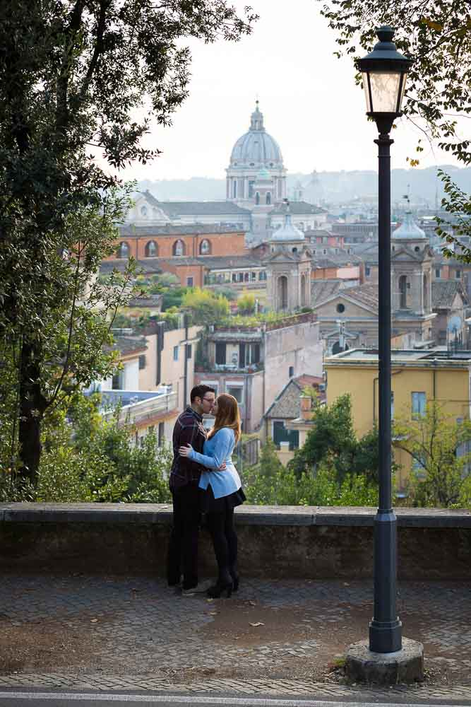 Romantic view over the roman skyline during an engagement session